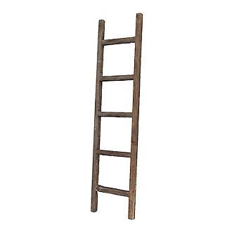 5 Step Rustic Espresso Gray Wood Ladder Shelf