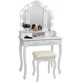 Dřevěný toaletní stolek bílý s LED zrcadlem a stolicí - 75x40x144 cm