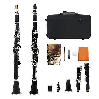 Klarinet plat klarinet met mondstuk, kast, connector, schildring, klarinetbeugel