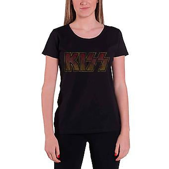 KISS T Shirt Classic Band Logo Vintage new Official Womens Skinny Fit Black