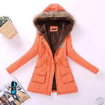 Talvi naisten takki, keskipitkä paksuuntunut plus koko, päällysvaatteet hupullinen pehmustettu takki