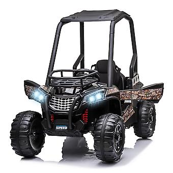 HOMCOM 12V Battery-powered Kids Electric Ride On Car Off-road UTV Toy 3-6 km/h with High Roof Parental Remote Control Music Lights MP3 Suspension Wheels for 3-8 Years Old Black