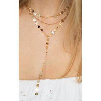 Gold Triple Layer Coin Disc Necklace