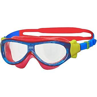 Zoggs Phantom Kids Swim Mask 0-6yrs- Clear Lens - Blue/Red Frame