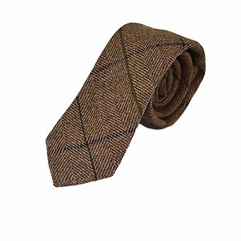 Cravatta e cravatta a spina di pesce marrone peanut Set quadrato tascabile