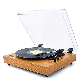 Vinyylimusiikki retrolevysoittimella 33/45/78 rpm vinyylilevyille, bluetooth-hihnavetoinen levysoitinwit wof33321