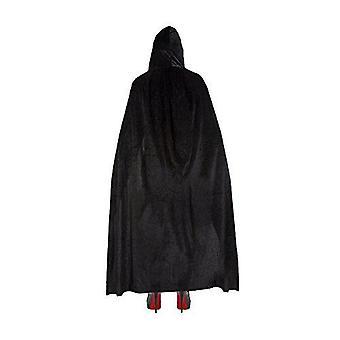 Unisex deluxe drcený samet halloweenský plášť - černý