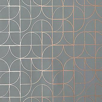 Symmetry Geometric Shapes Wallpaper Gris / Rosa Oro Rasch 310139