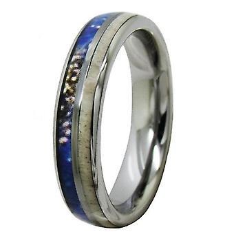 Tungsten 5mm sarvien inlay hopea häänauhat