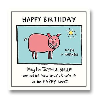 Pigment Edward Monkton - Pig Of Happiness Birthday Card Sf802a