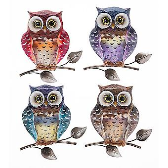 Shudehill Giftware Bright Metallic Owl Small Plaque