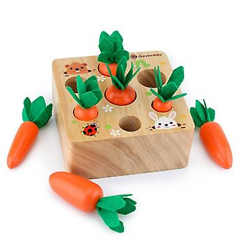 Wooden Carrot Shape Matching Size Cognition Montessori Educational Toy