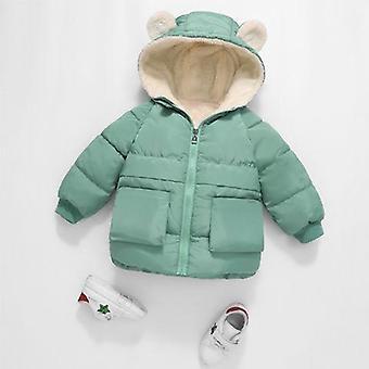 儿童棉衣加厚冬季温暖服装与头罩夹克