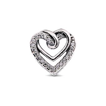 Pandora People Sparkling Entwined Hearts Charm - 799270C01