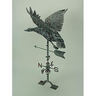 Verdigris Patina Metal Flying Duck Weathervane with Roof Mount