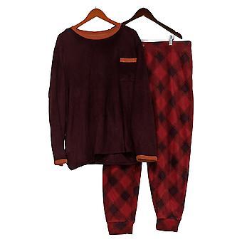 Cuddl Duds Abbigliamento in pile alto donna Jogger Pigiama Set Rosso A387657