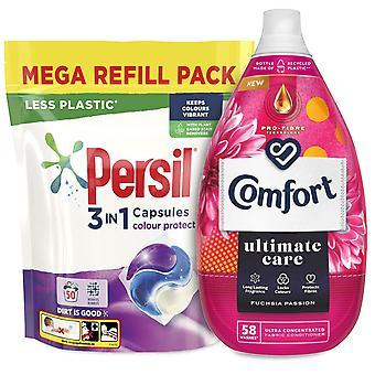 Laundry Bundle 1x50W Persil Colour Capsules & 1x58W Comfort Fabric Conditioner