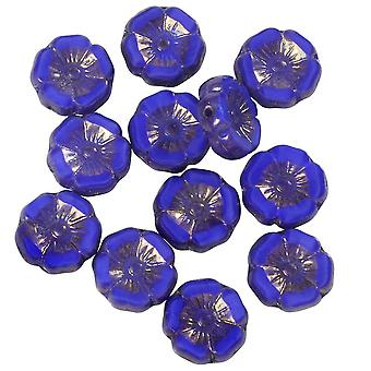 Czech Glass Beads, Hibiscus Flower 11mm, Royal Blue Silk, Purple Bronze, 1 Str, by Raven's Journey