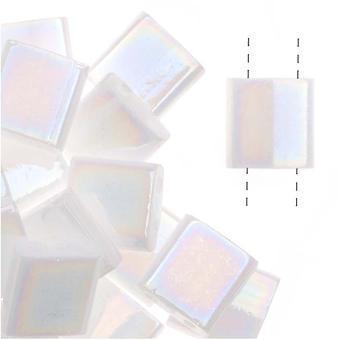 Миюки Тила 2 отверстия Квадратные бусины Непрозрачный жемчужно-белый 7.2Gr