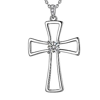 Besilver FP0085W - Necklace with Cross-shaped Pendant, in Sterling Silver, Unisex