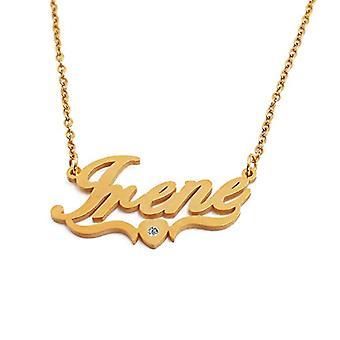 Kigu Irene Halsband med anpassat namn i form av ett guldpläterat hjärta, smycken för kvinnor, flickvänner, mödrar, systrar, Ref vänner. 4963303149370