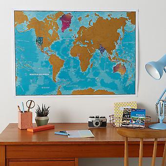 Scratch the World® - Karta över Akvarellutgåva (Silk Art Paper)