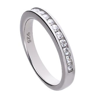 Diamonfire Womens 925 Sterling Silver Rhodium, Palladium & Platinum pläterad Clear Cubic Zirconia Round Stone Channel Set Eternity Ring