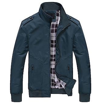Allthemen Men's Casual Solid Color Stand-up Collar Zipper Puffer Jacket