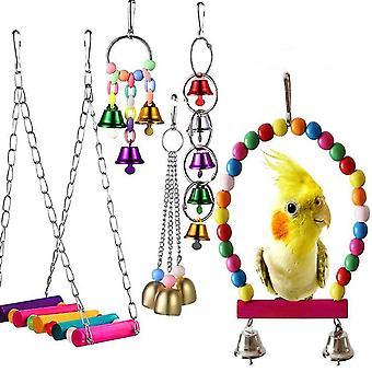 5 Stück Haustier Vögel Papagei Spielzeug Käfig Hut Nest Vogel Hängematte Schaukel, Glocken