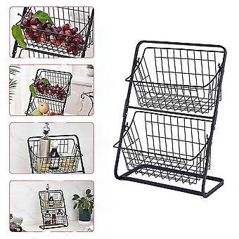 Double Layer Iron Storage Shelf Rack for Kitchen Seasoning Organizer Fruits Holder Assembly Bathroom