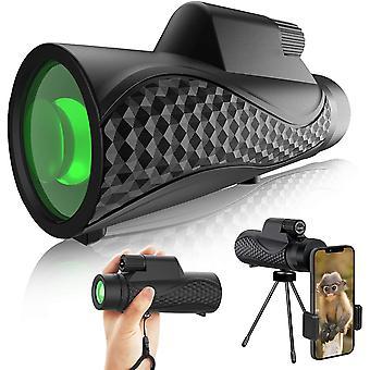 تلسكوب أحادي 12 × 42 صادقة أحادية الوضوح عالية الوضوح للبالغين والأطفال، 16.5mm سوبر مشرق BAK4 المنشور FMC عدسة - أحادية لمشاهدة الطيور، والصيد، والتخييم، والسفر، (أسود)