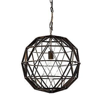 Black Metal Geometric Globe Hanging Light