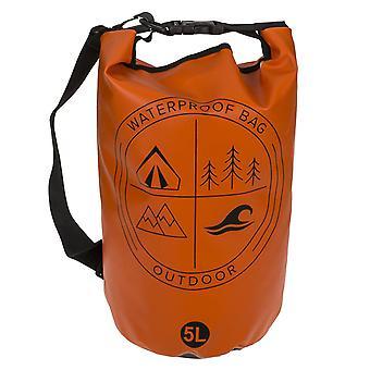 Outdoor tas, rolltop tas waterdicht oranje/zwart, met flexibele draagriem, 5 liter inhoud.