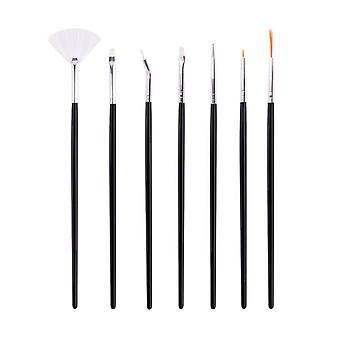 7 Assorted Nail Art Brushes, Including Fan No 5 And 6 Brush Dotting Tools High Quality