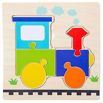 Lapset puinen 3d palapeli montessori lelu varhaiskasvatus sarjakuva eläinoppiminen palapeli puu lelu lapsille 2-4-vuotiaille