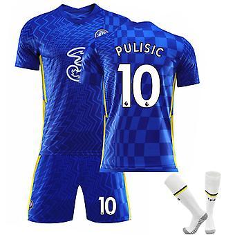 Pulisic #10 Jersey Home 2021-2022 Ny säsong Chelsea F.C. Fotboll T-Shirts Jersey Set för barn ungdomar