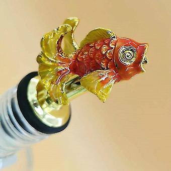 Scandinavische stijl zinklegering dierlijke thema wijn stop en pourer (Goudvis Golden Red)