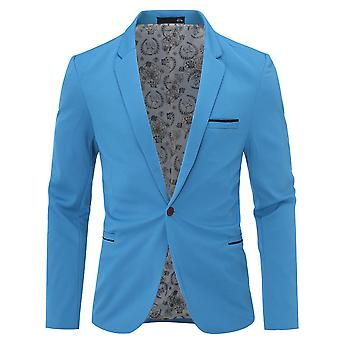 Mile Men's Slim Fit Casual One Button Suits Coat Solid Blazer Business Jacket