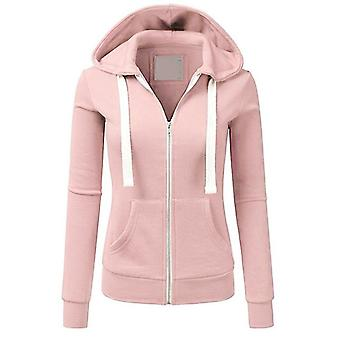 Frauen Langarm Patchwork Einfarbig Kapuze Reißverschluss Casual Sport Mantel Pullover Mädchen Kapuze Weiblicher Mantel Mode