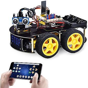Smart Car Robot, 4wd Programmable Diy Starter Kit per Arduino Per Uno R3, elettronica Programmazione Progetto / stem Educativo / scienza Codifica Robot Giocattoli per