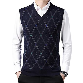 Silktaa Men's Casual Diamond Plaid V-neck Sweater Knitted Vest