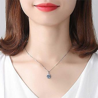Luxury 7mm Blue Pendant Necklace For Women Charming Chain  Gift|Necklaces