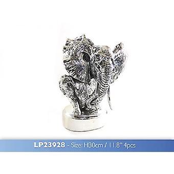 Elephant Bust Silver Figurine 30cm Resin Ornament Home Decoration