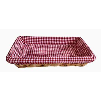Red Checked Lined Flat Rectangular Wicker Tray