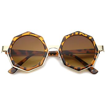 Women's High Fashion Oversize Octagon Geometric Frame Round Sunglasses 43mm