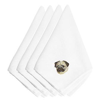 Carolines trésors EMBT2401NPKE Pug brodé serviettes de table lot de 4