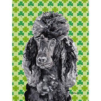 Black Standard Poodle Lucky Shamrock St. Patrick's Day Flag Canvas House Size