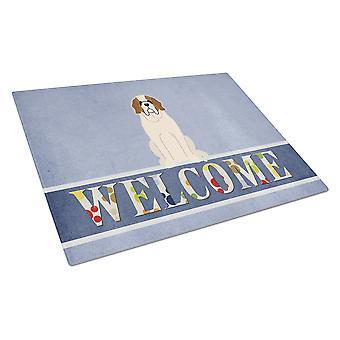 Carolines skatter BB5616LCB Saint Bernard Welcome glas skärbräda stor