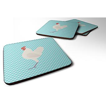 Set of 4 German Langshan Chicken Blue Check Foam Coasters Set of 4