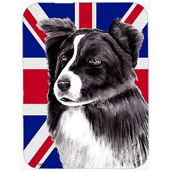 Border Collie with English Union Jack British Flag Glass Cutting Board Large Siz